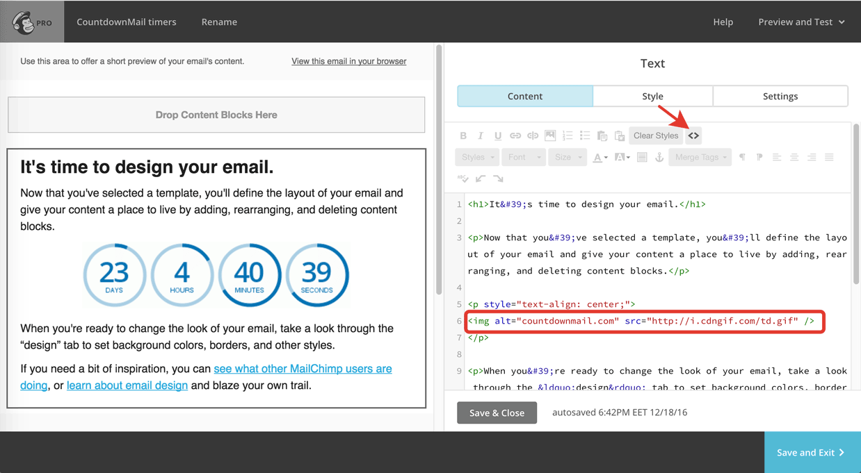 Include countdown timers in MailChimp use a Drag and Drop Editor